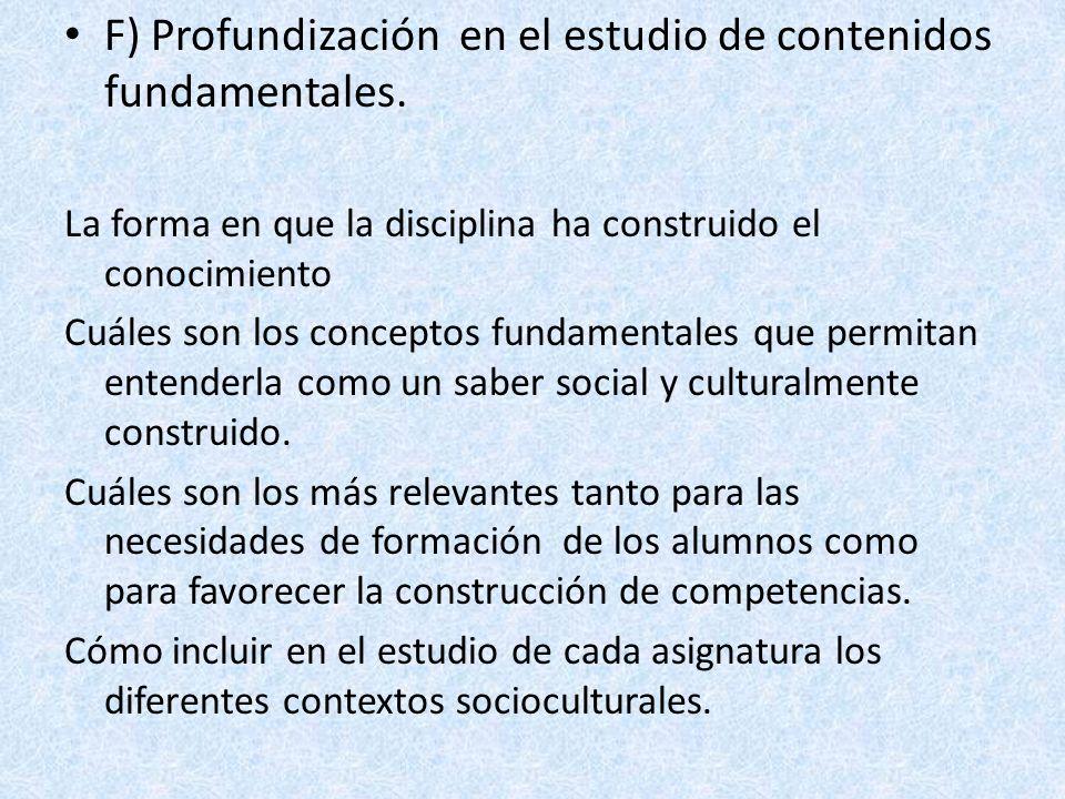 F) Profundización en el estudio de contenidos fundamentales.