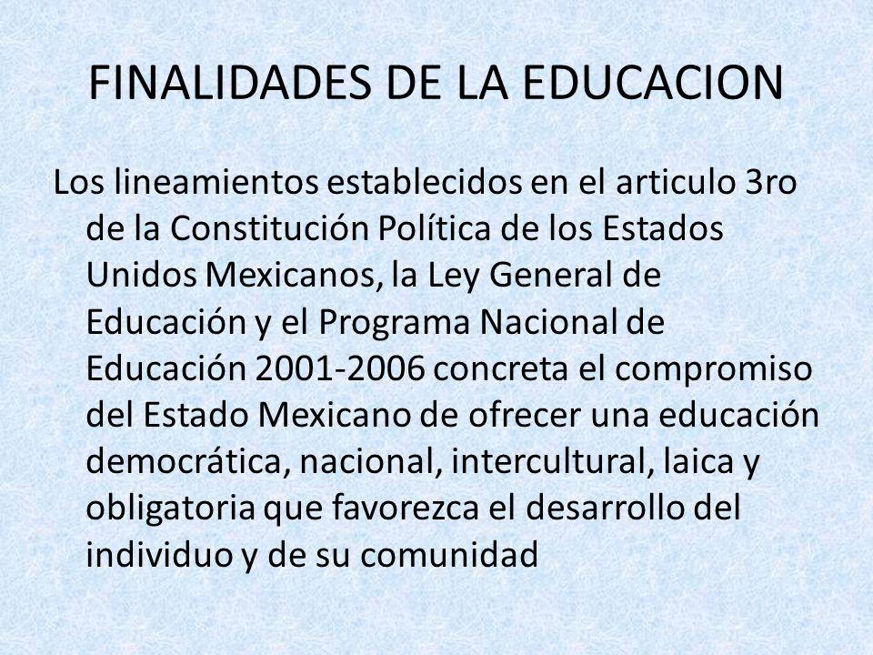 FINALIDADES DE LA EDUCACION