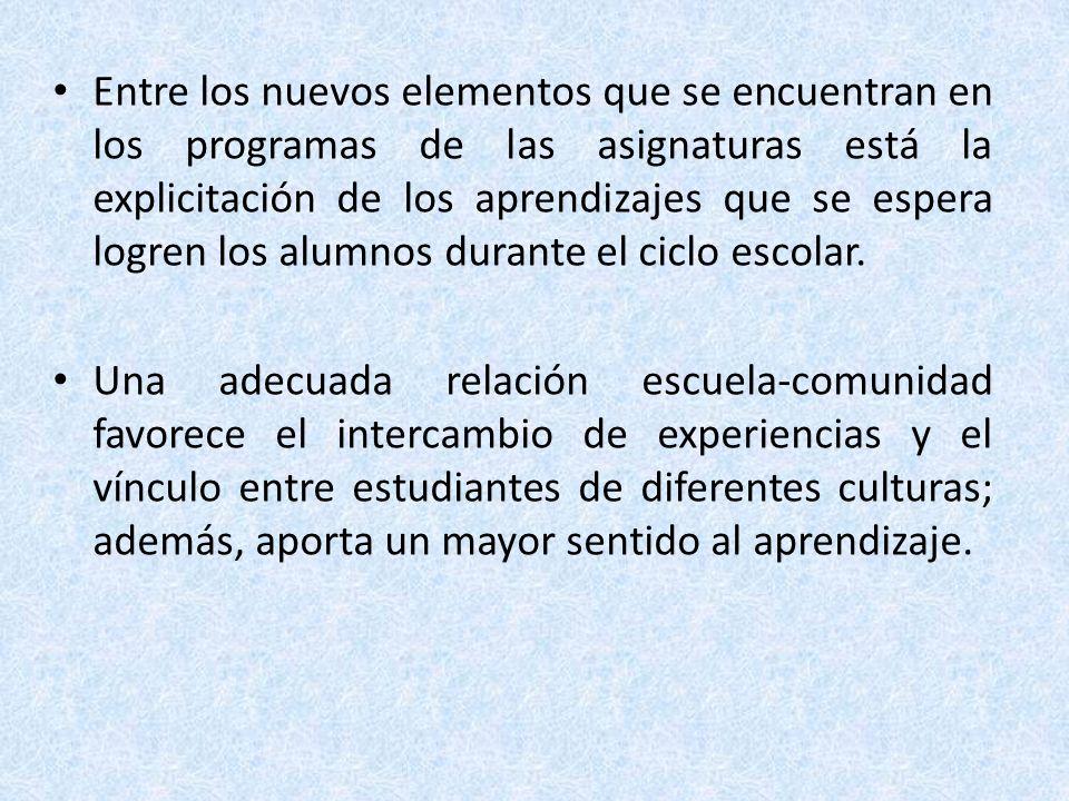 Entre los nuevos elementos que se encuentran en los programas de las asignaturas está la explicitación de los aprendizajes que se espera logren los alumnos durante el ciclo escolar.