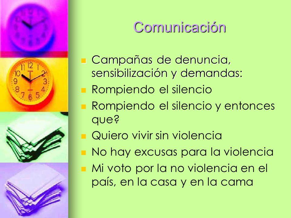 Comunicación Campañas de denuncia, sensibilización y demandas: