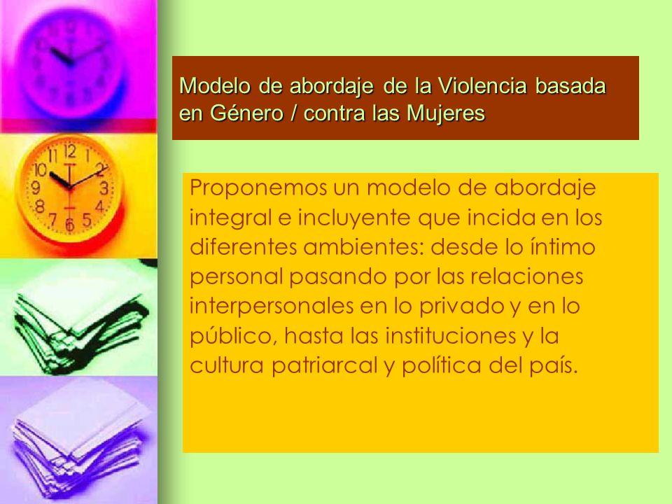 Modelo de abordaje de la Violencia basada en Género / contra las Mujeres