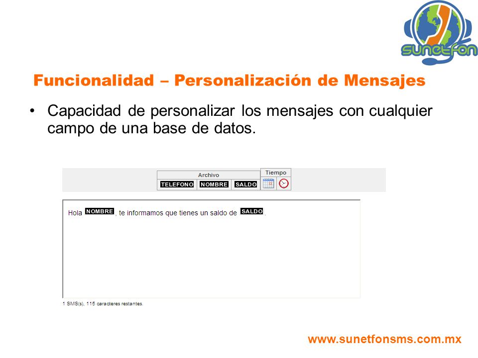Funcionalidad – Personalización de Mensajes