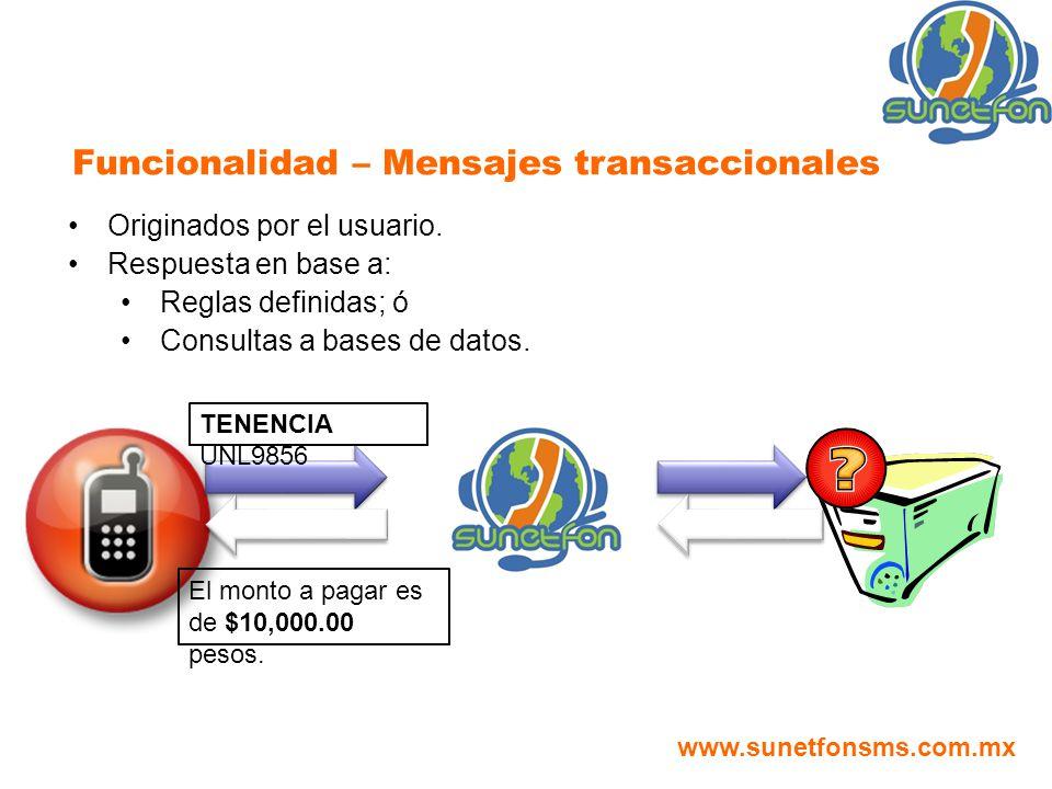 Funcionalidad – Mensajes transaccionales