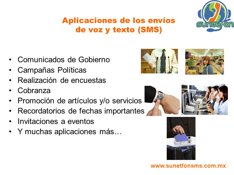 Aplicaciones de los envíos de voz y texto (SMS)