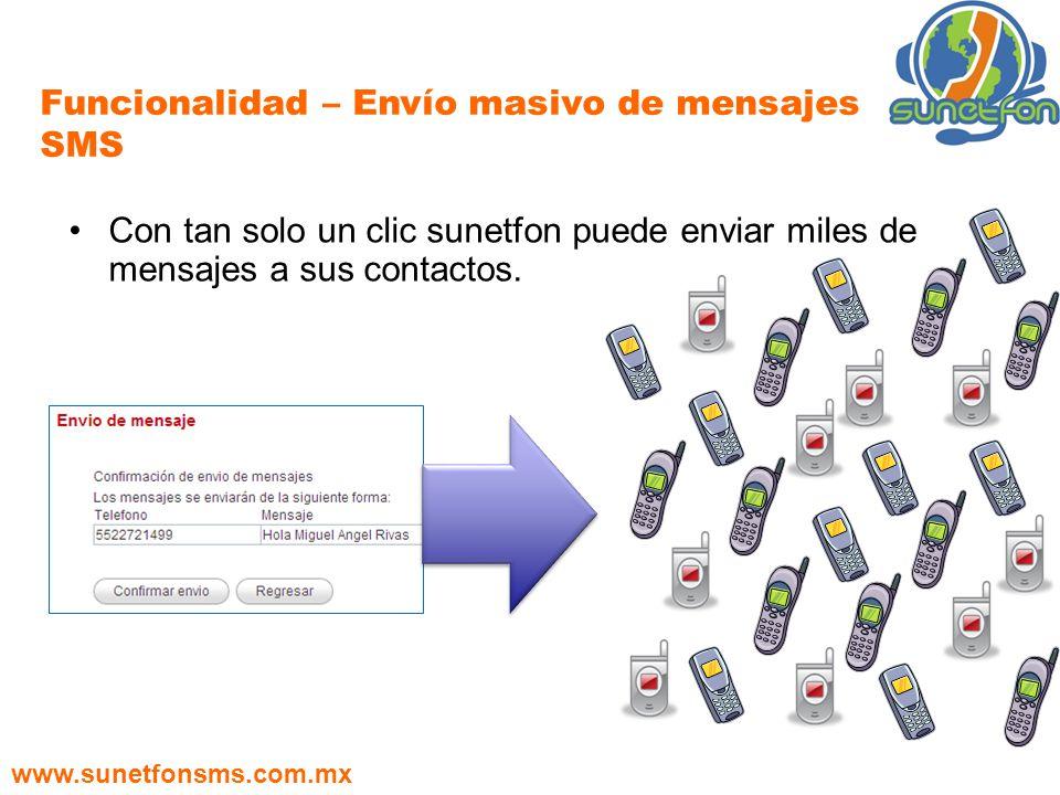 Funcionalidad – Envío masivo de mensajes SMS