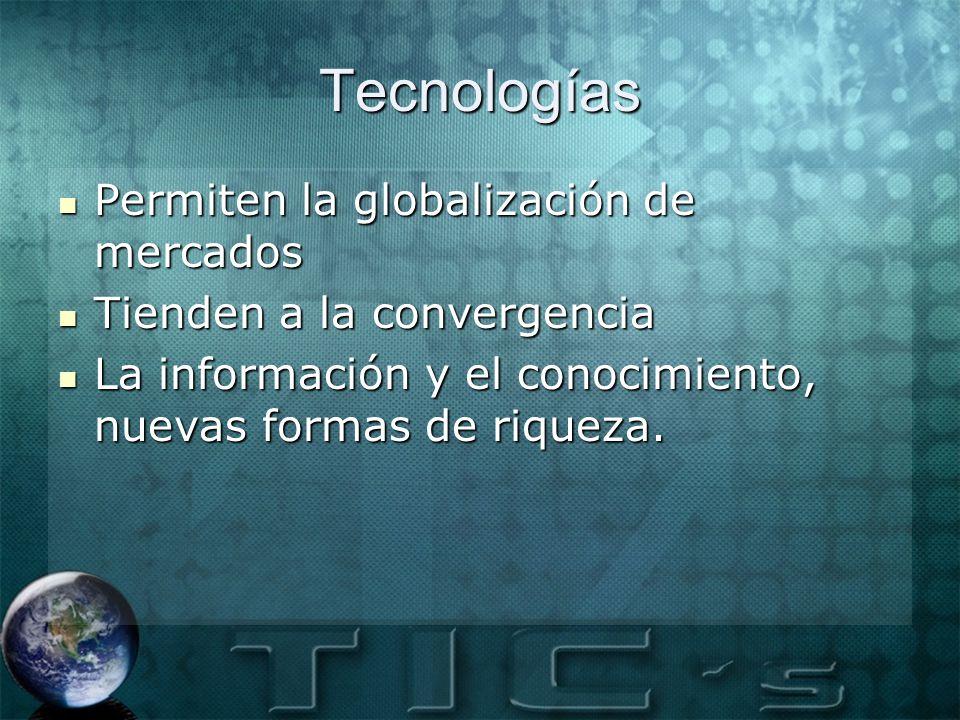 Tecnologías Permiten la globalización de mercados