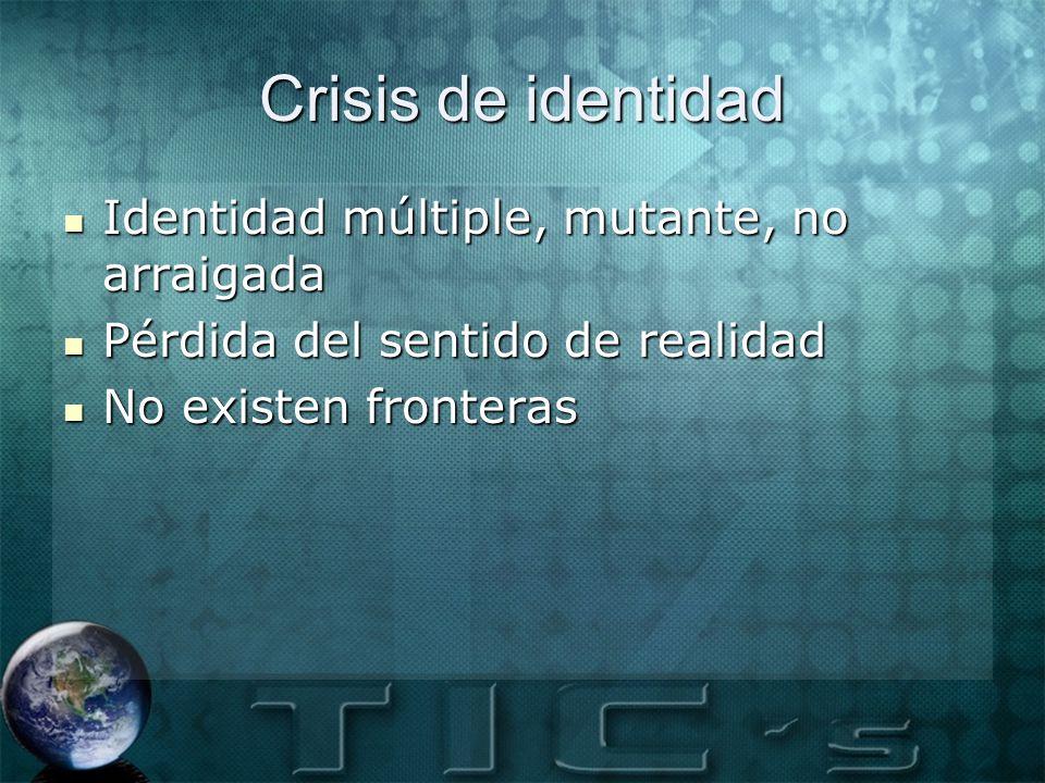 Crisis de identidad Identidad múltiple, mutante, no arraigada