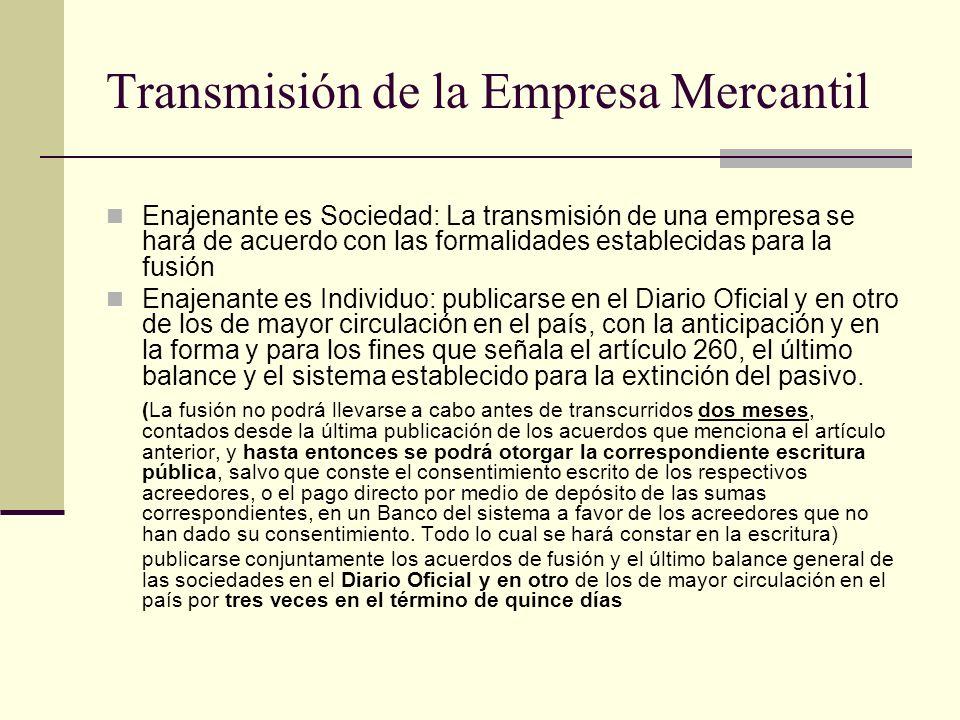 Transmisión de la Empresa Mercantil
