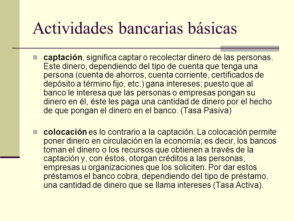 Actividades bancarias básicas