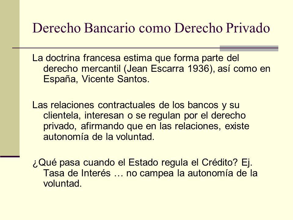 Derecho Bancario como Derecho Privado