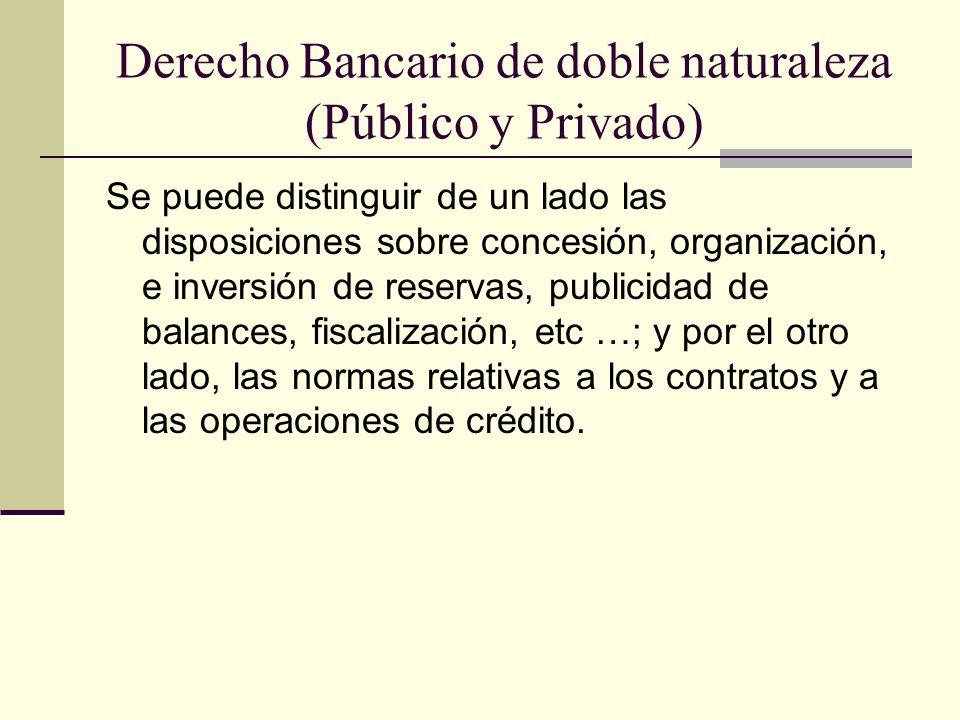 Derecho Bancario de doble naturaleza (Público y Privado)