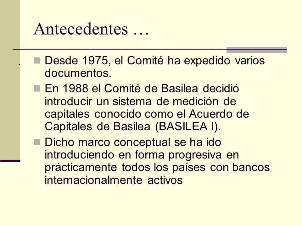 Antecedentes … Desde 1975, el Comité ha expedido varios documentos.