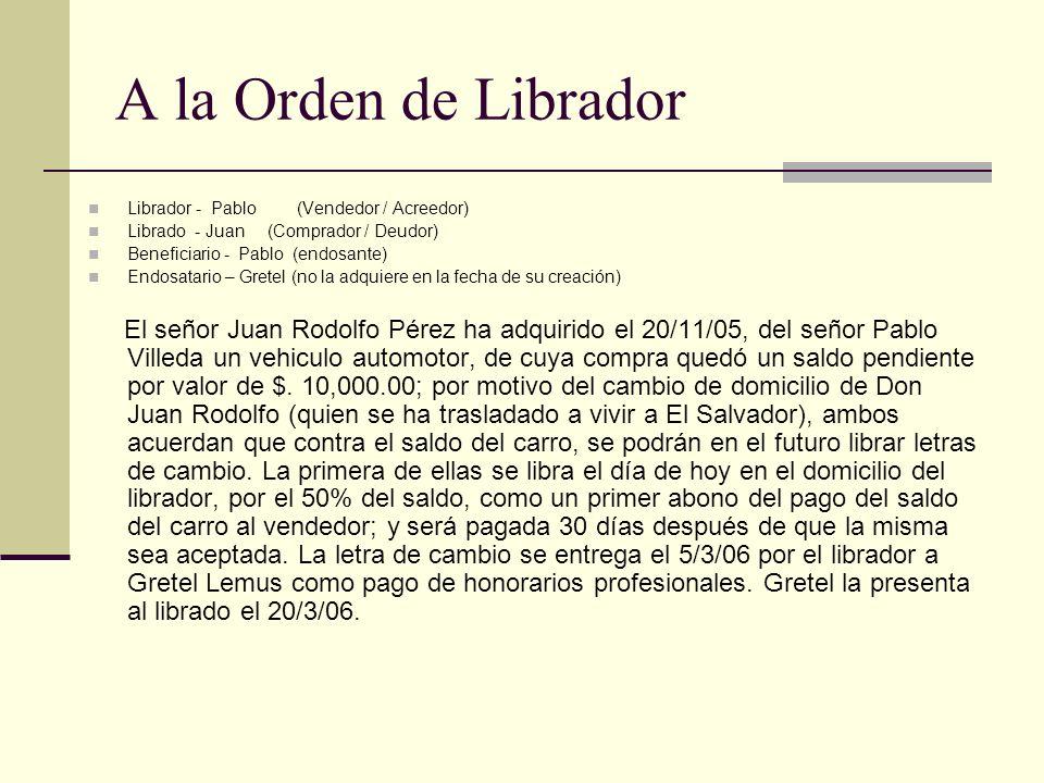 A la Orden de Librador Librador - Pablo (Vendedor / Acreedor) Librado - Juan (Comprador / Deudor)