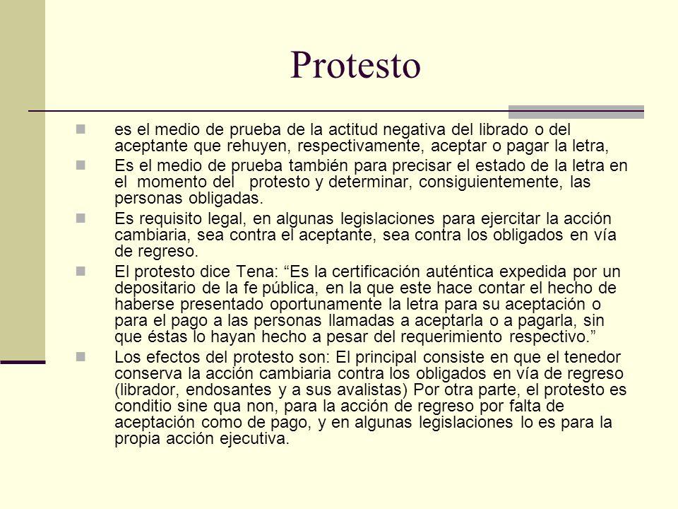 Protesto es el medio de prueba de la actitud negativa del librado o del aceptante que rehuyen, respectivamente, aceptar o pagar la letra,