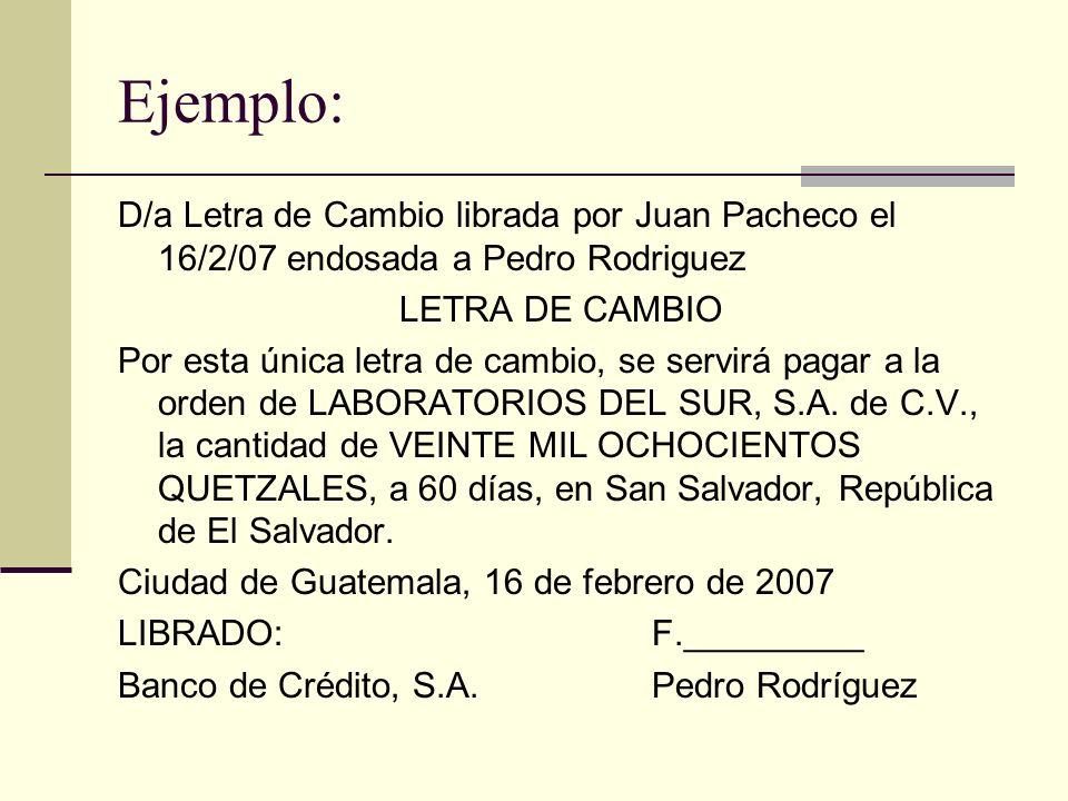 Ejemplo: D/a Letra de Cambio librada por Juan Pacheco el 16/2/07 endosada a Pedro Rodriguez. LETRA DE CAMBIO.