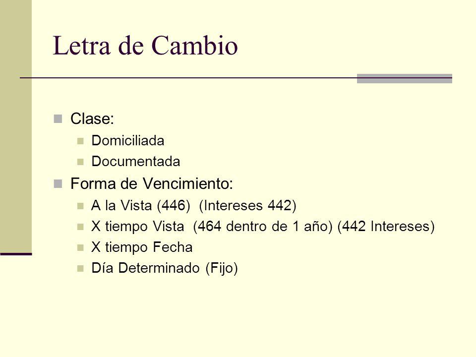 Letra de Cambio Clase: Forma de Vencimiento: Domiciliada Documentada
