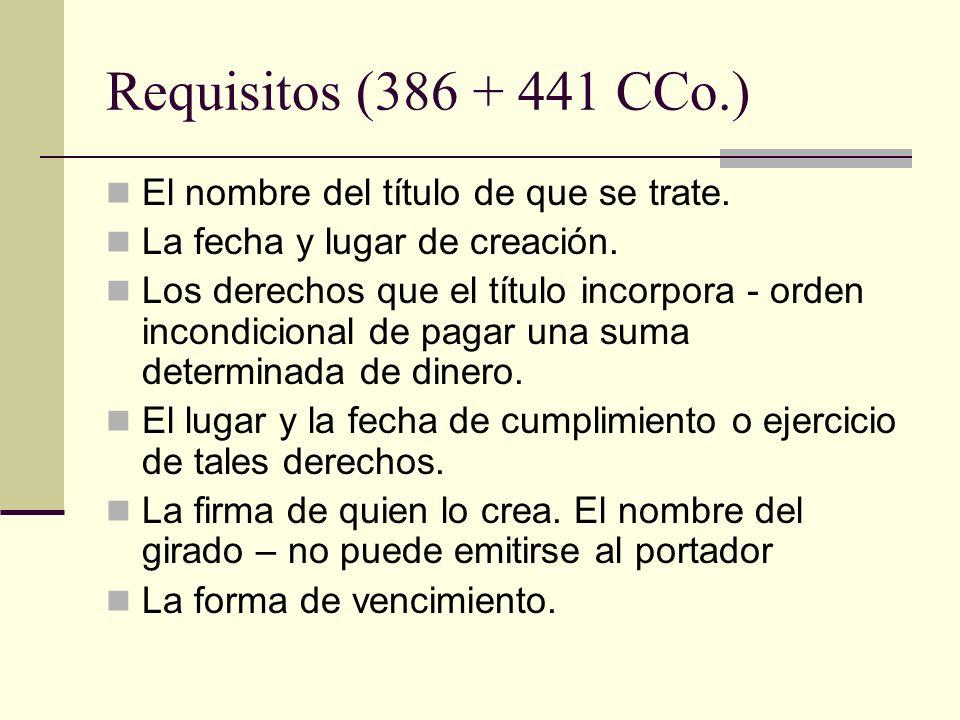 Requisitos (386 + 441 CCo.) El nombre del título de que se trate.