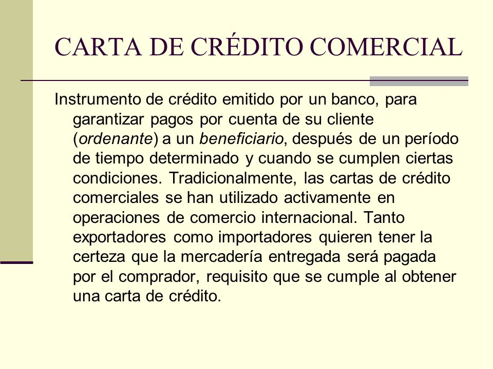CARTA DE CRÉDITO COMERCIAL