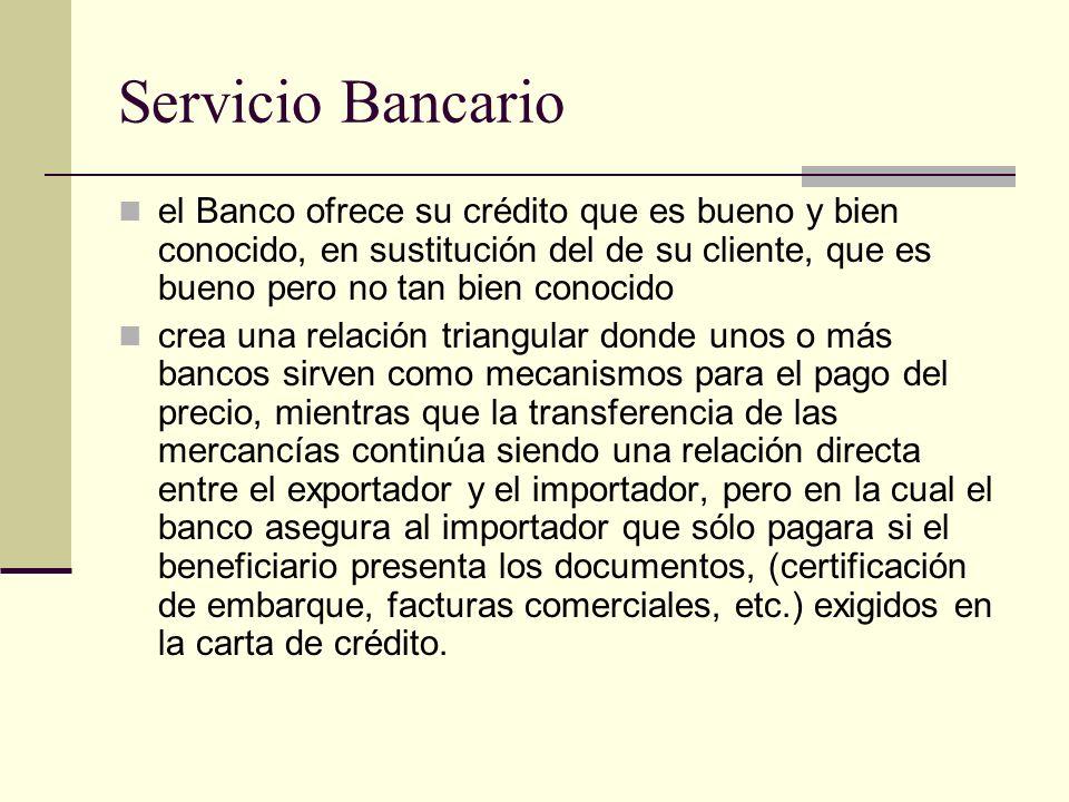 Servicio Bancario el Banco ofrece su crédito que es bueno y bien conocido, en sustitución del de su cliente, que es bueno pero no tan bien conocido.