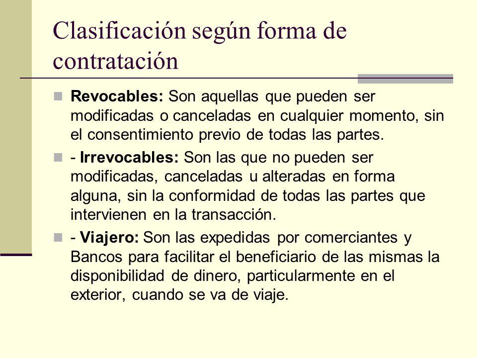 Clasificación según forma de contratación