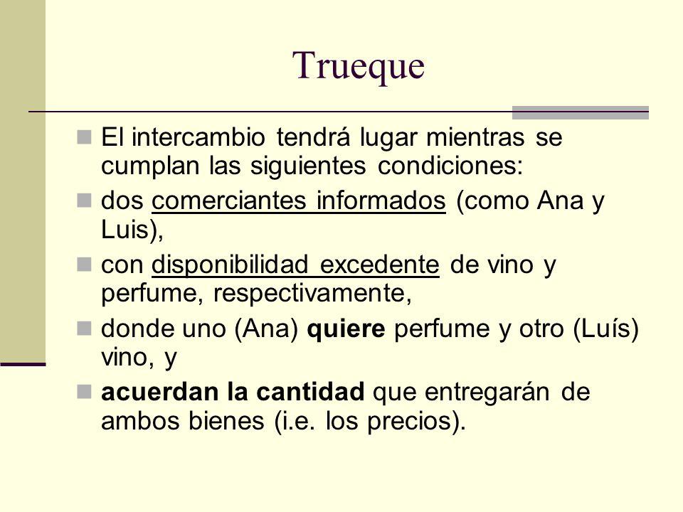 Trueque El intercambio tendrá lugar mientras se cumplan las siguientes condiciones: dos comerciantes informados (como Ana y Luis),