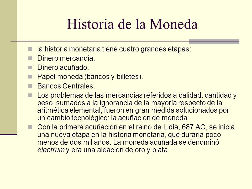 Historia de la Moneda la historia monetaria tiene cuatro grandes etapas: Dinero mercancía. Dinero acuñado.
