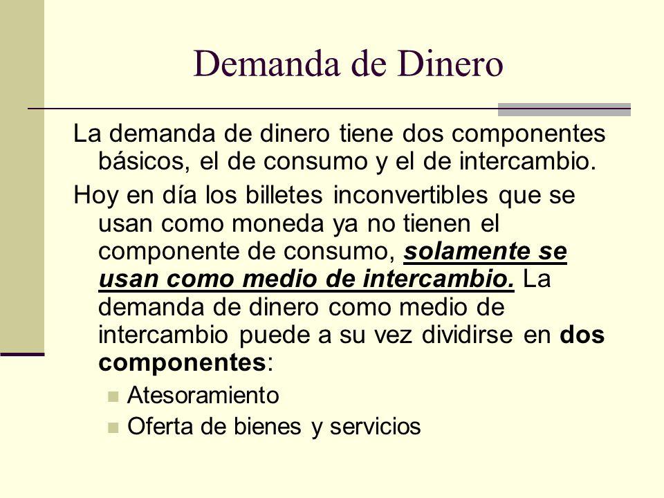 Demanda de Dinero La demanda de dinero tiene dos componentes básicos, el de consumo y el de intercambio.