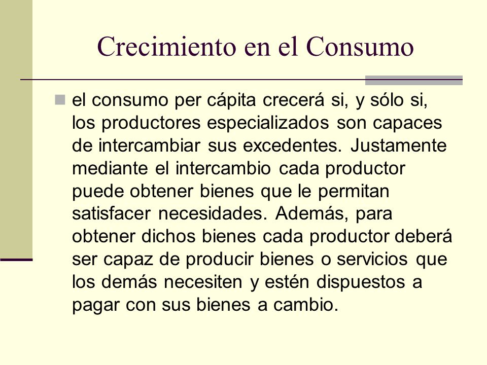 Crecimiento en el Consumo