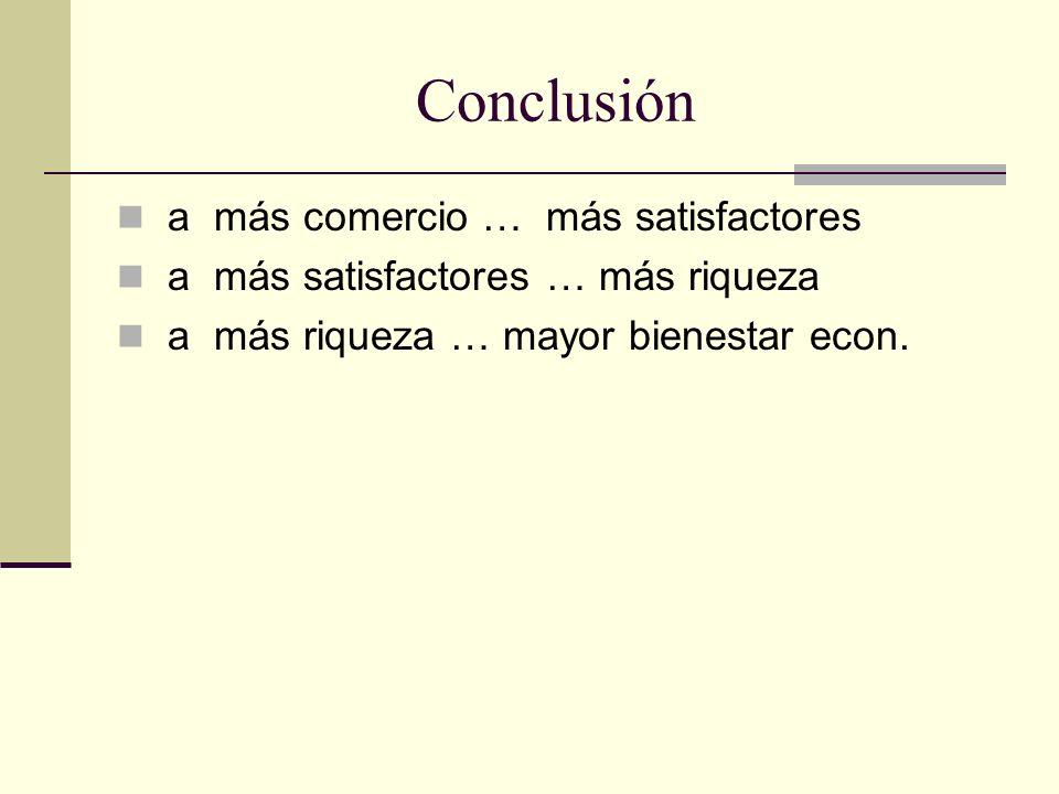 Conclusión a más comercio … más satisfactores