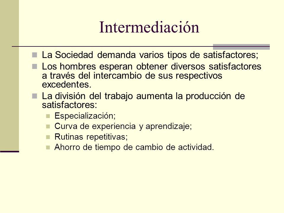 Intermediación La Sociedad demanda varios tipos de satisfactores;