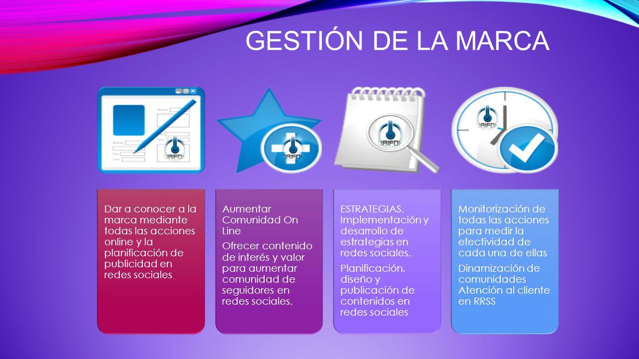 GESTIÓN DE LA MARCA Dar a conocer a la marca mediante todas las acciones online y la planificación de publicidad en redes sociales.