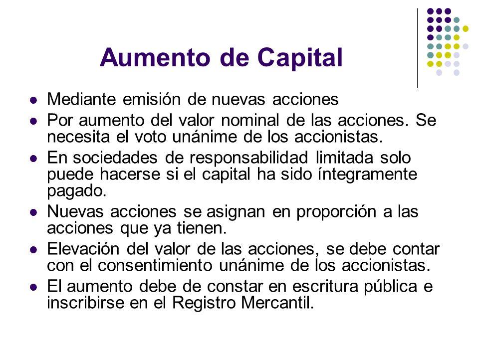 Aumento de Capital Mediante emisión de nuevas acciones