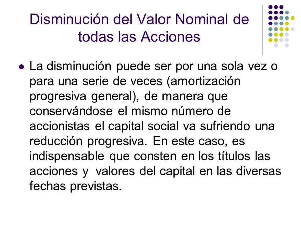 Disminución del Valor Nominal de todas las Acciones