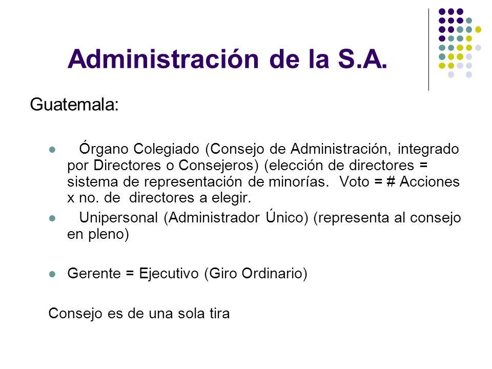 Administración de la S.A.