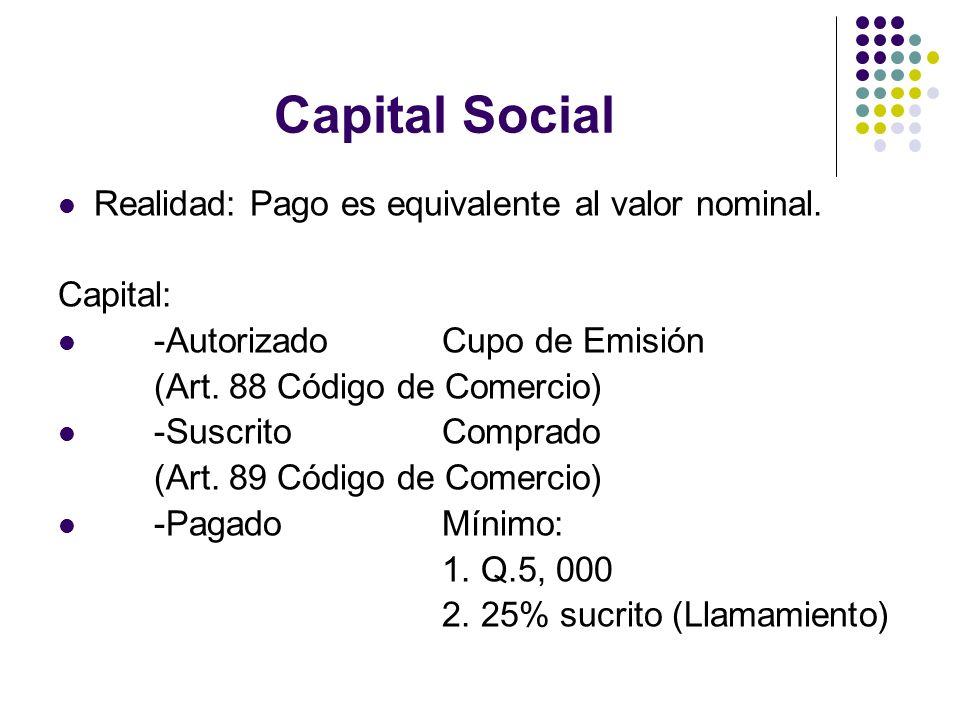 Capital Social Realidad: Pago es equivalente al valor nominal.