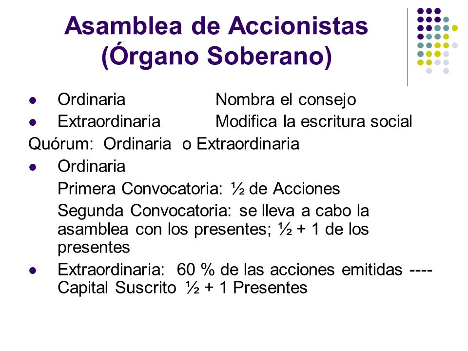 Asamblea de Accionistas (Órgano Soberano)