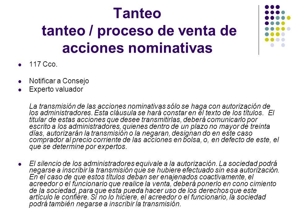Tanteo tanteo / proceso de venta de acciones nominativas