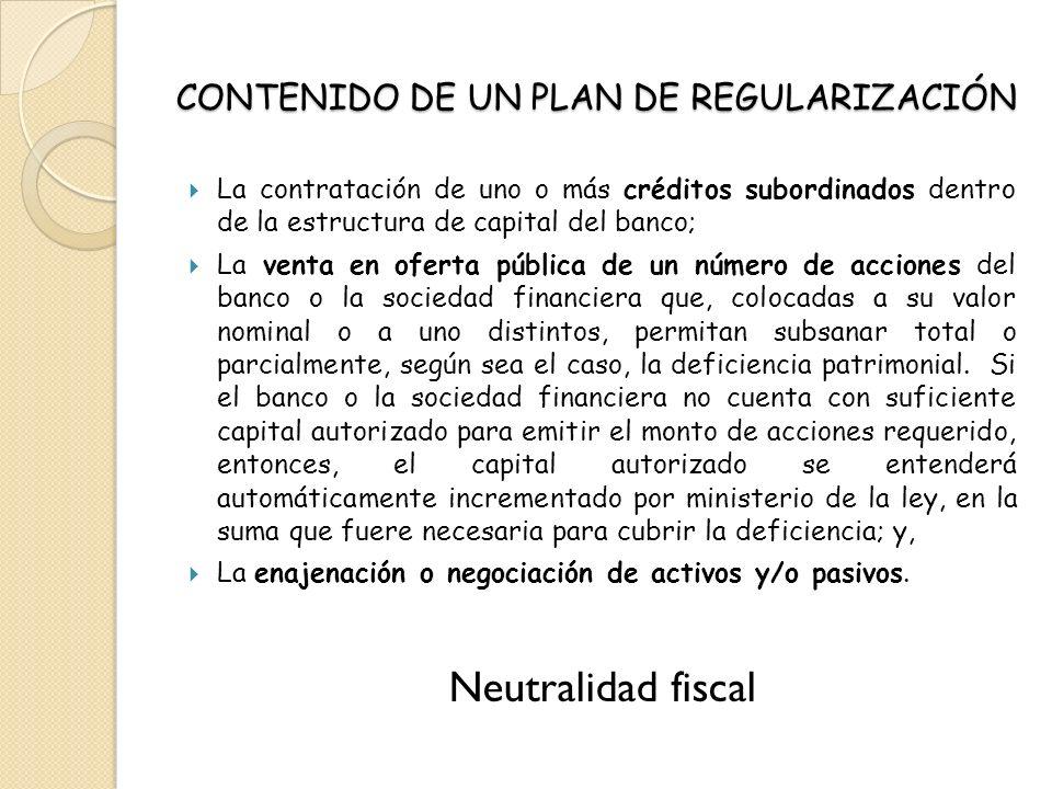 CONTENIDO DE UN PLAN DE REGULARIZACIÓN