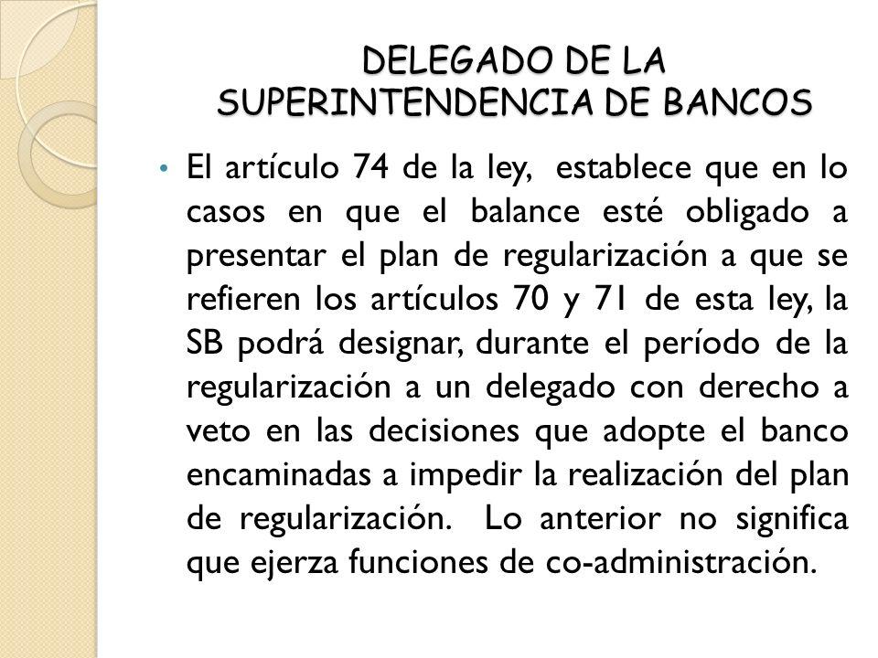 DELEGADO DE LA SUPERINTENDENCIA DE BANCOS