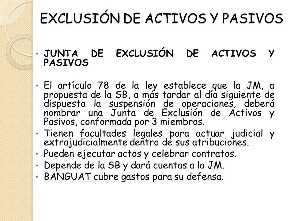 EXCLUSIÓN DE ACTIVOS Y PASIVOS