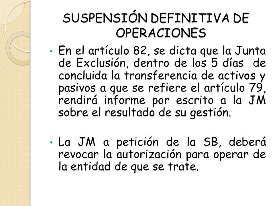 SUSPENSIÓN DEFINITIVA DE OPERACIONES