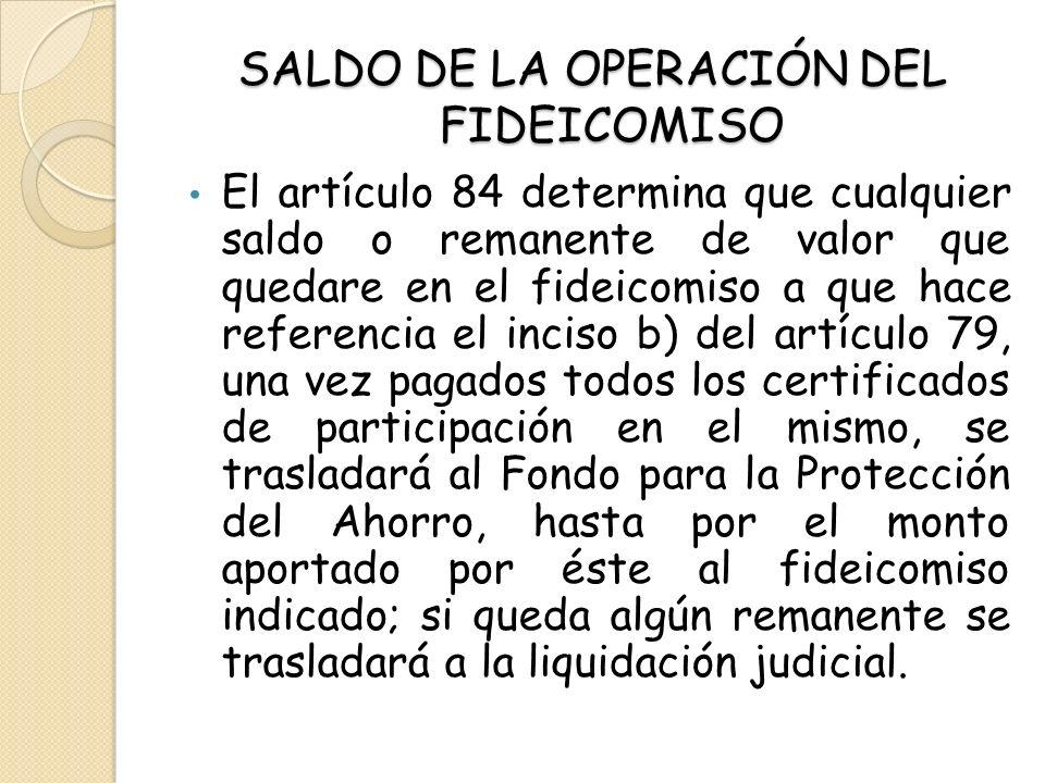 SALDO DE LA OPERACIÓN DEL FIDEICOMISO