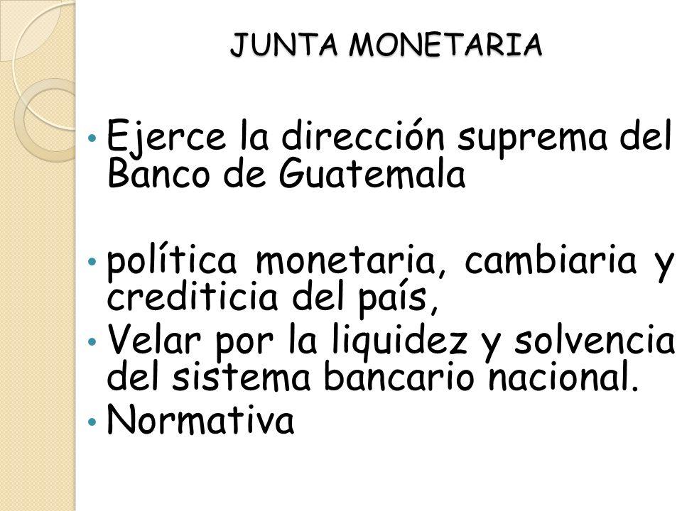 Ejerce la dirección suprema del Banco de Guatemala