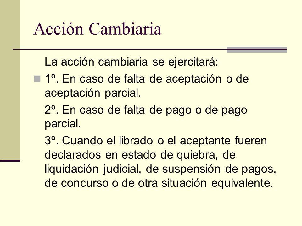 Acción Cambiaria La acción cambiaria se ejercitará: