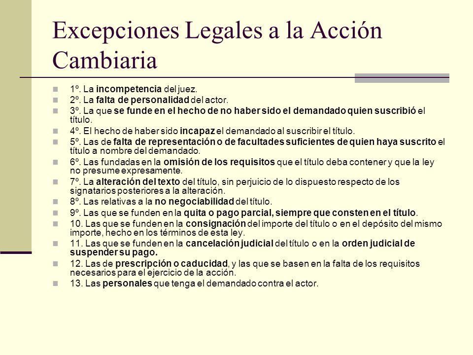 Excepciones Legales a la Acción Cambiaria
