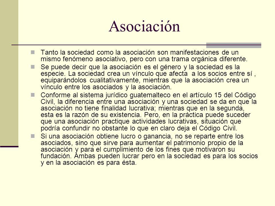 Asociación Tanto la sociedad como la asociación son manifestaciones de un mismo fenómeno asociativo, pero con una trama orgánica diferente.