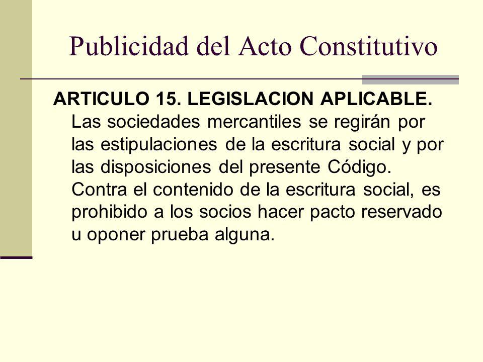 Publicidad del Acto Constitutivo