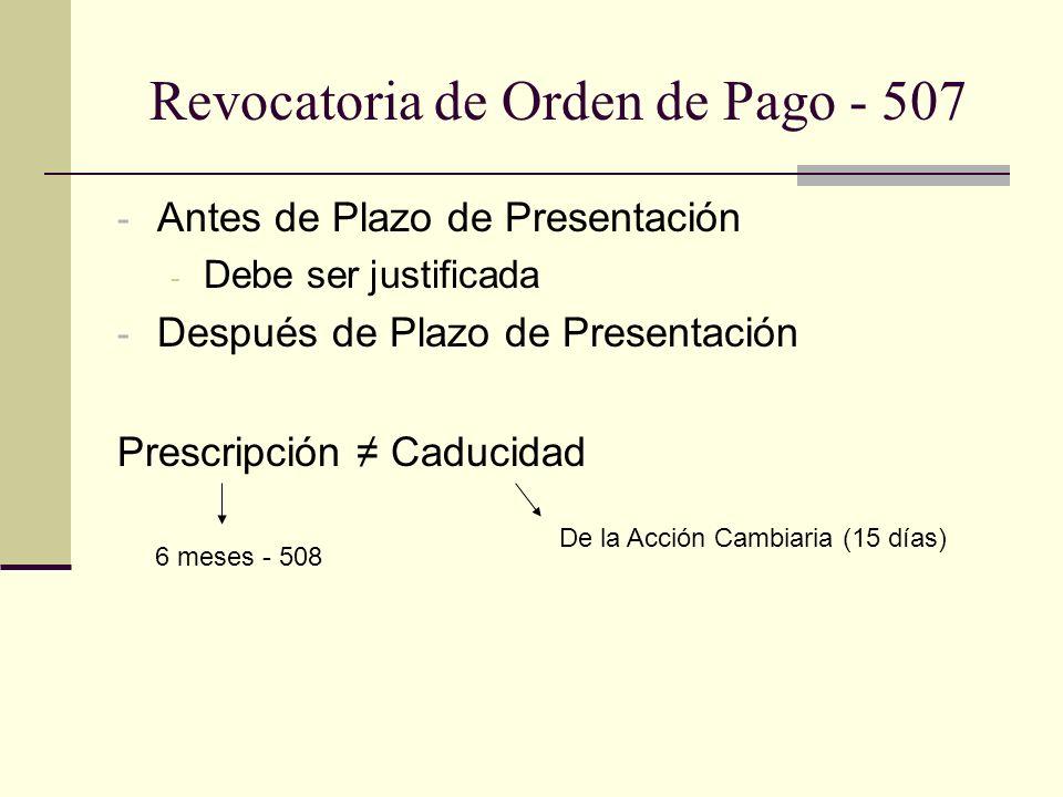 Revocatoria de Orden de Pago - 507