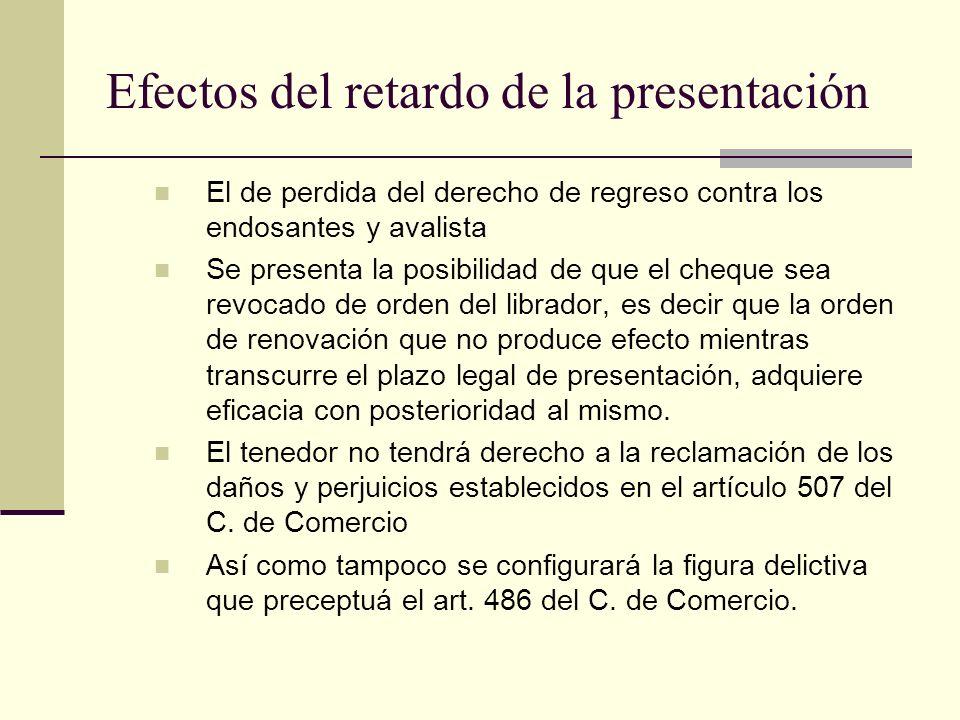 Efectos del retardo de la presentación