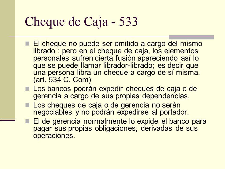 Cheque de Caja - 533